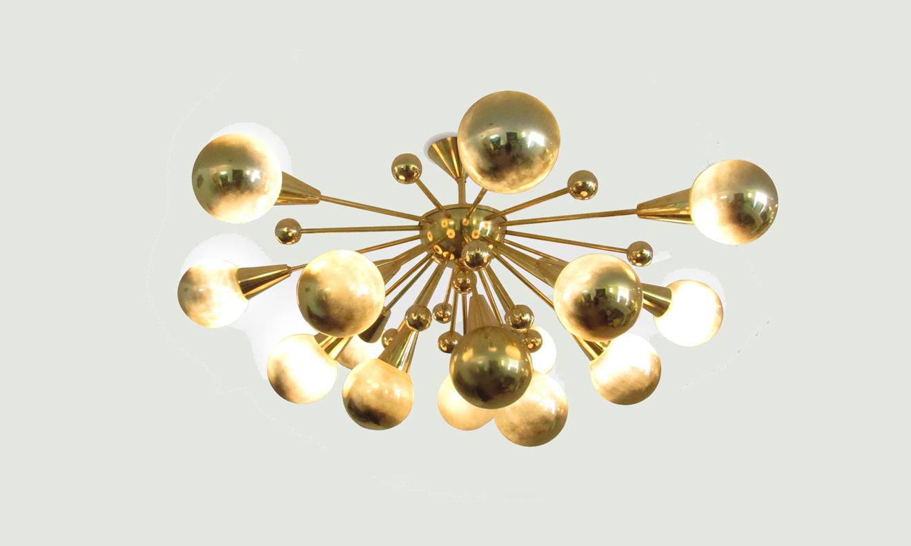 Half sputnik brass gold murano glass globes chandelier aloadofball Images