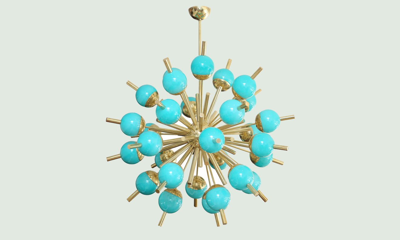 Modern turquoise glass and brass sputnik chandelier modern turquoise glass and brass sputnik chandelier aloadofball Image collections